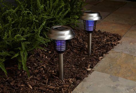 solar bug lights solar insect bug zapper lights set of 2 sharper image