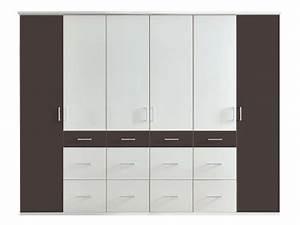 Armoire 6 Portes : armoire 6 portes 12 tiroirs smart coloris blanc noir ~ Teatrodelosmanantiales.com Idées de Décoration