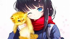 Anime, Anime, Girls, Original, Characters, Scarf, Cat, Wallpapers, Hd, Desktop, And, Mobile, Backgrounds
