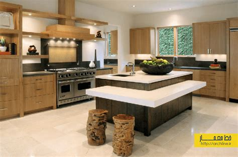 kitchen island design pictures 30 نمونه دکوراسیون آشپزخانه جزیره ای مدرن خط معمار 5039