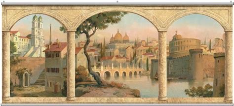 tuscan scenic stone arches minute mural