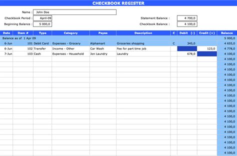 checkbook register exceltemplatenet