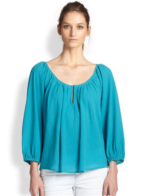 peasant blouses joie cotton crepe peasant blouse in blue lyst