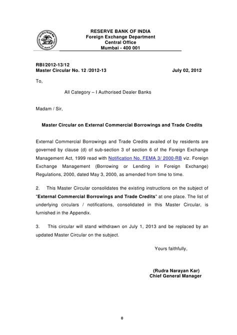 Master Circular on External Commercial Borrowings and