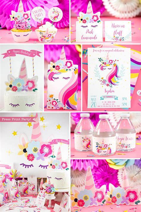 unicorn birthday printable set press print