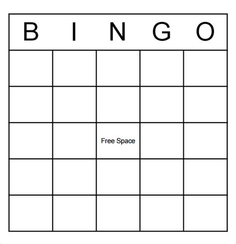 blank bingo samples  word