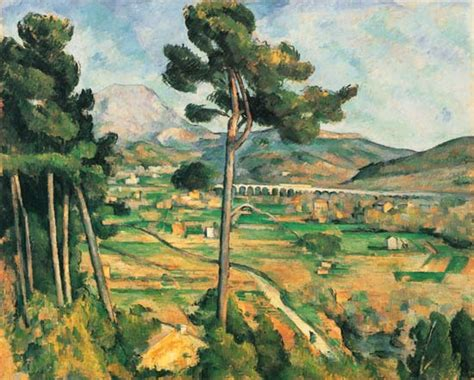 mont sainte victoire and the viaduct of the arc river valley painting of paul c 233 zanne as