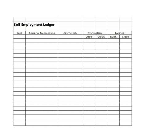 receipt ledger template self employment ledger template excel free