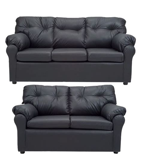 2 Seater Sofa Online by Elzada 5 Seater Sofa Set 3 2 In Black Buy Online At