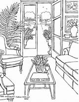 Coloring Rooms Living Pages Adults Drawings Adult Fredgonsowskigardenhome Sheets sketch template
