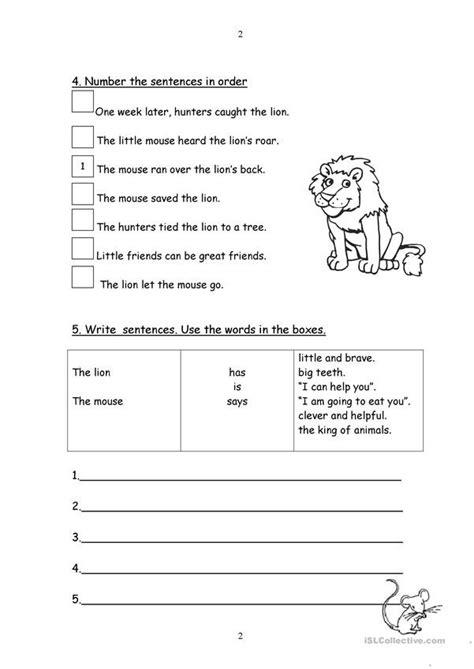 lion   mouse fable worksheets worksheets