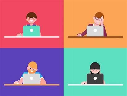 Laptop Dribbble Employees Test Characters Employee Animation