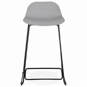 Chaise Mi Hauteur : tabouret de bar chaise de bar mi hauteur design ulysse mini pieds m tal noir gris clair ~ Teatrodelosmanantiales.com Idées de Décoration