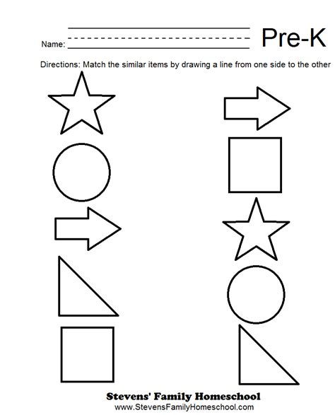 pre k matching worksheets math