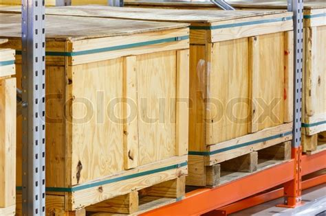 close  paper  wooden cargo box  stock photo