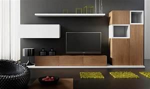 Meuble Salon Bois : ensemble meuble tv design buffet notte mobilier design pour salon moderne en bois ~ Teatrodelosmanantiales.com Idées de Décoration