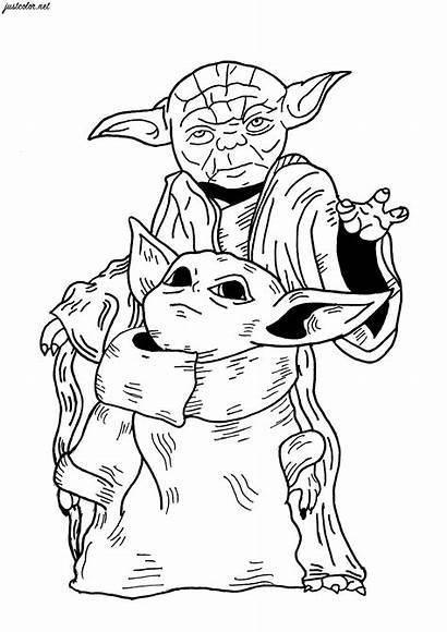 Yoda Coloring Wars Mandalorian Adults Dessin Colorare