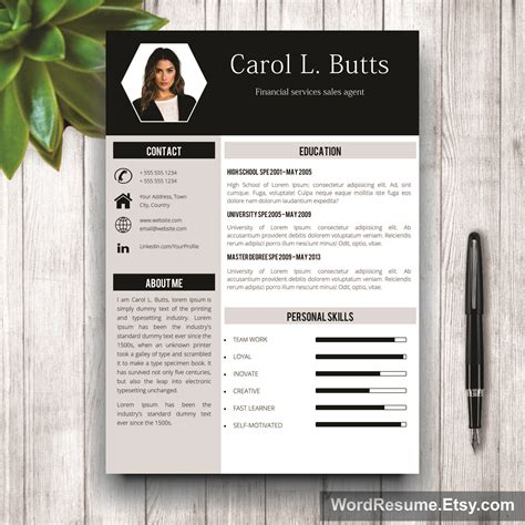 Buy Cv Template by Clean Resume Template Quot Carol L Quot Creative Resume