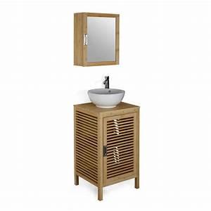 meuble bas de salle de bains en bambou 50cm nature With meuble vasque salle de bain en bambou