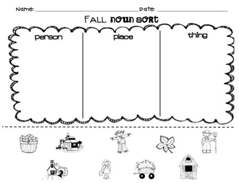 kindergarten noun worksheets kiduls printable