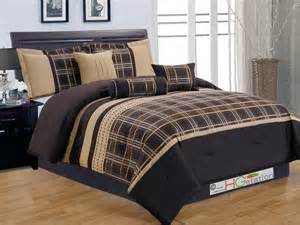 7 plaid striped embroidery satin comforter set coffee brown chocolate gold queen ebay