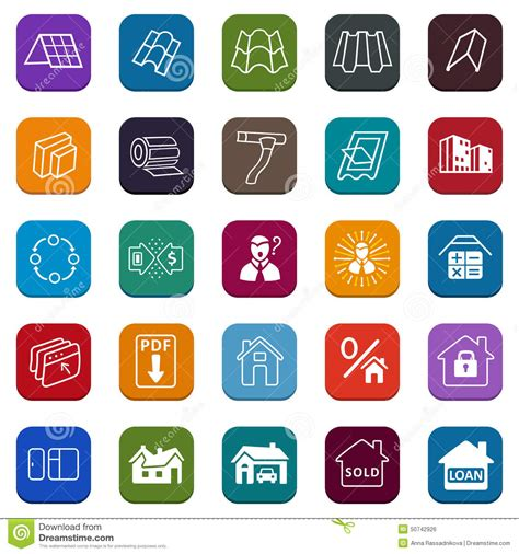 sale buildings materials roof facade site icons set