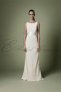 1960s silk soft ivory empire waistline bodice timeless With boat neck wedding dress