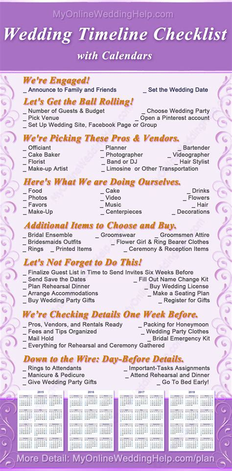 complete wedding checklist  steps  timeline