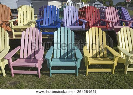 painted adirondack chairs stock images royalty