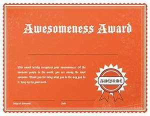 Awesome award template images for Certificate of awesomeness template