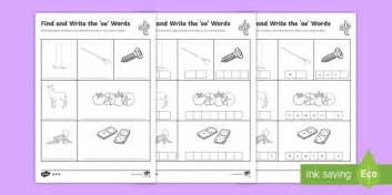 Find And Write The Oe Words Differentiated Worksheet Activity