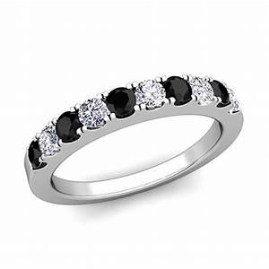 pave black and white diamond wedding anniversary ring band With wedding rings with black and white diamonds