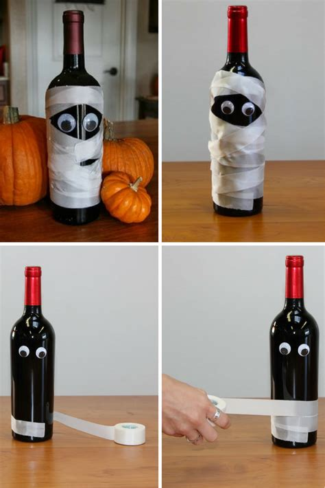 diy mummy wine bottle crafts  halloween