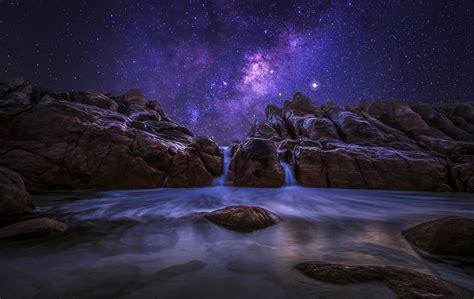Western Australia Night Ocean Rock Stones Milky Way Sky