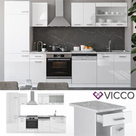 Vicco Küche Rline 300 Cm Weiß Hochglanz + Arbeitsplatten