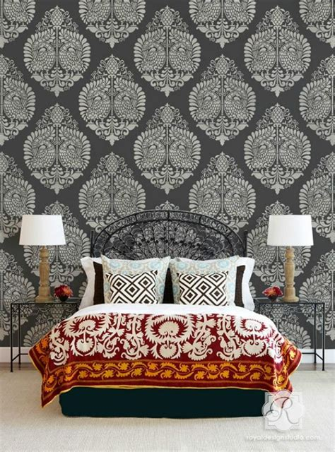 exotic wall stencils ideas  painting diy indian decor