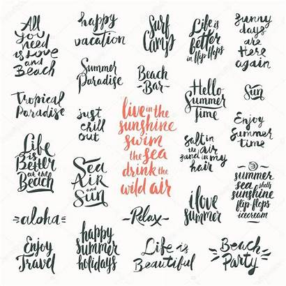 Summer Calligraphy Vacation Vector Quotes Phrases Words