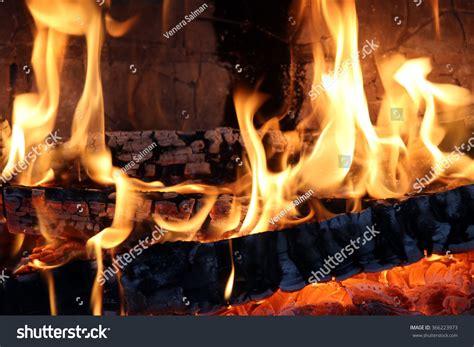 Macro Texture Flame Burning Logs Fireplace Stock Photo