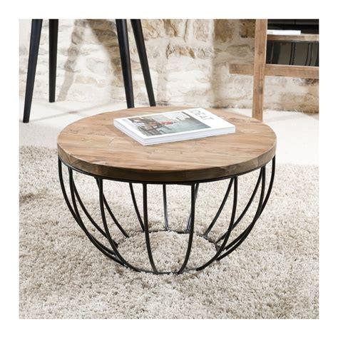 bureau bois recyclé table basse ronde 60x60 tinesixe
