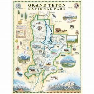 Grand Teton National Park Map Art Prints  Poster Art  Wall