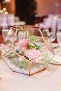 succulent centerpieces 2017 modern wedding trend terrarium geometric details