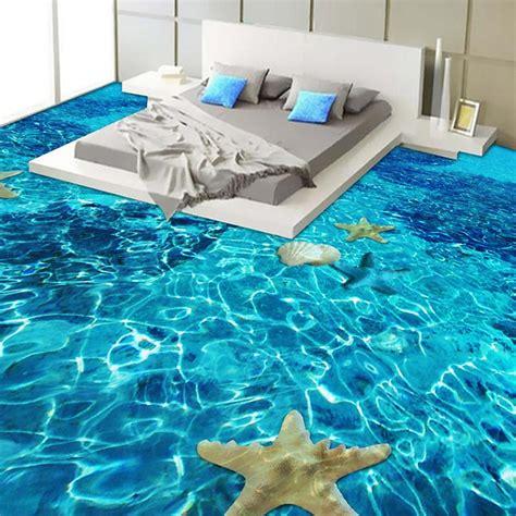 custom  adhesive floor mural wallpaper  clear sea