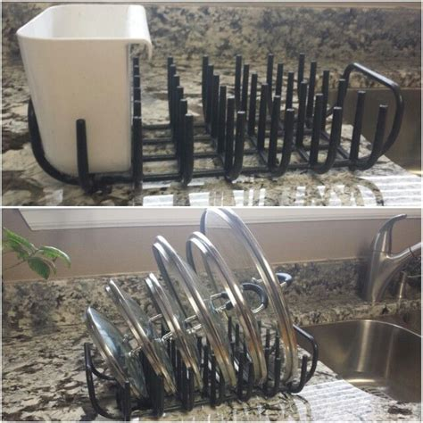 IKEA dish drying rack repurposed into a pots and pans lid