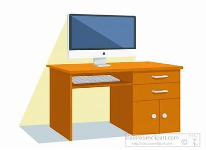 Desk Computer Clipart Monitor Furniture Keyboard Classroom