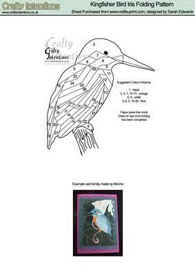 kingfisher bird iris folding pattern iris paper folding