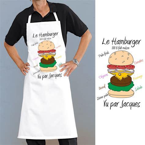 tablier de cuisine à personnaliser tablier de cuisine motif hamburger personnalisé cadeau