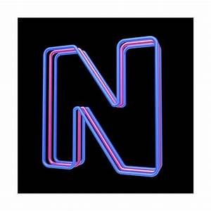 3D Neon Alphabet Letter N Isolated Black Background
