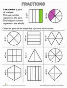 Fraction Fundamentals Part Of A Whole Math Worksheets Fraction Worksheets Printable Free 4th Grade Color The Lifestyle In NanoPics Basic Fractions Review Worksheet Fractions Addition Review Worksheet Math Pinterest