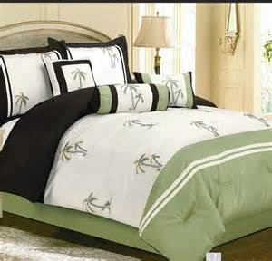 7pc catalina green palm tree faux silk comforter bedding queen set bed in a bag ebay