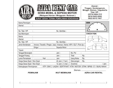 Contoh Kwitansi Rental Mobil Doc